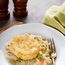 Dinner on the Table in 30! Chicken Pot Pie Bowl